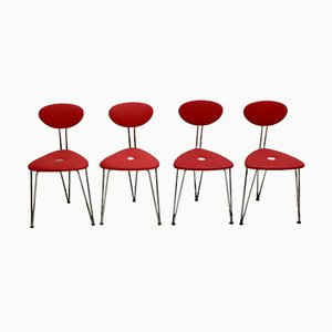 Red Lounge Chairs by Günter Talos, 1950s, Set of 4