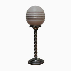 Art Deco Opaline Glass Globe and Chrome Table Lamp, 1920s