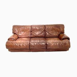 Cognac Leather Sofa from Roche Bobois, 1980s