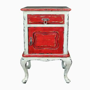 Red and Beige Painted Nightstand, 1940s