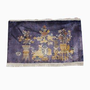 Vintage Hand-Knotted Silk Carpet