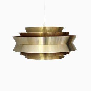 Vintage Danish Brass Pendant Lamp by Carl Thore / Sigurd Lindkvist for Granhaga Metallindustri, 1960s