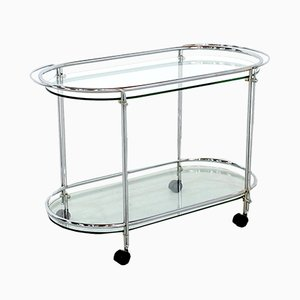 Mid-Century Chrome and Glass Serving Trolley
