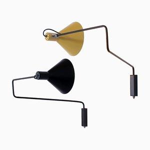 Wandlampen in Schwarz & Beige von JJM Hoogervorst für Anvia, 1950er, 2er Set
