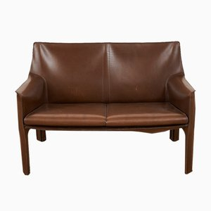 Vintage Leather Model CAB 414 Sofa by Mario Bellini for Cassina, 1980s