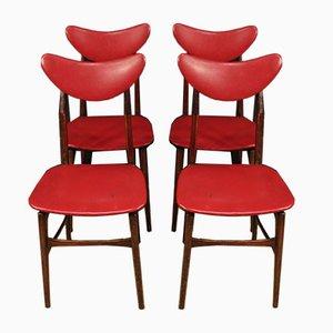 Italienische Kunstleder Sessel, 1970er, 4er Set