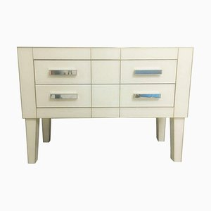 White Glass & Mirrored Commode with Brass and Two Drawers by Zenza Art & Deco