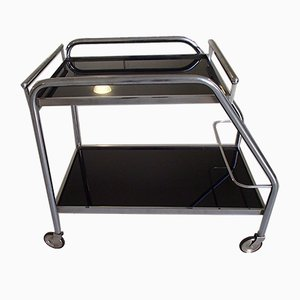 Art Deco Chrome Steel and Black Glass Trolley with Removable Shelf and Bottle Holder, 1930s