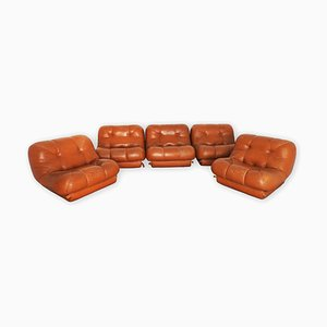 Vintage Modular Leather Sofa Set by Rino Maturi for Nuvolone, 1970s, Set of 5
