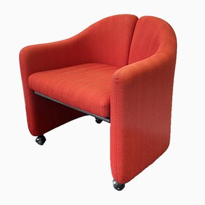 Italian Red Model PS142 Armchair by Eugenio Gerli for Tecno, 1960s
