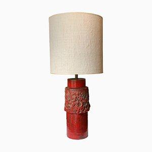 Italienische Rote Keramik Tischlampe, 1950er