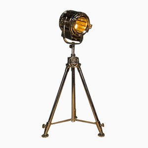 Vintage Nickel Tripod Spotlight Floor Lamp