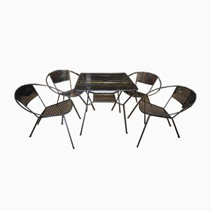 Perforated Metal Garden Table and Chairs Set, 1930s, Set of 5