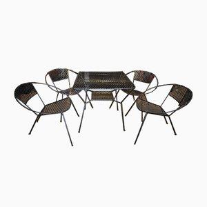 Set de Table et Chaises de Jardin en Métal Perforé, 1930s, Set de 5