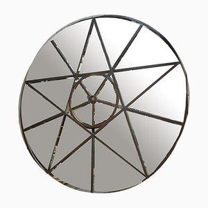 Großer Industrieller Runder Spiegel aus Metall & Glas, 1920er