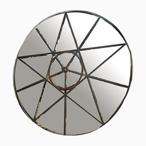 Large Industrial Round Metal and Glass Mirror, 1920s