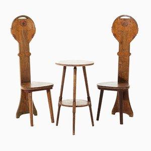 Chaises d'Appoint et Dossier de Table Vintage à Dossier Haut, 1900s, Set de 3