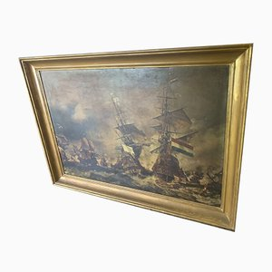 19th Century Oil on Canvas Depicting The Battle of Texel from Eugène Ysabey