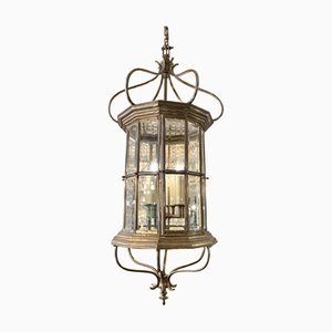 Large Antique French Nickel-Plated Lantern Ceiling Lamp