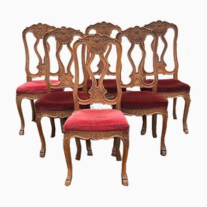 Antique French Oak Dining Chairs, Set of 6