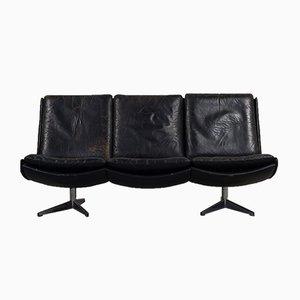 Mid-Century Danish Black Leather Architectural Sofa, 1960s