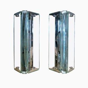 Mid-Century Italian Glass Sconces, Set of 2