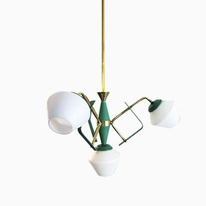 Mid-Century Italian Green and Opaline Glass Ceiling Lamp with Brass Details in the Style of Stilnovo, 1950s