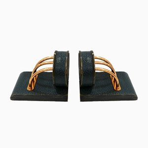 Vintage Green Leather and Copper Plated Metal Bookends, Set of 2
