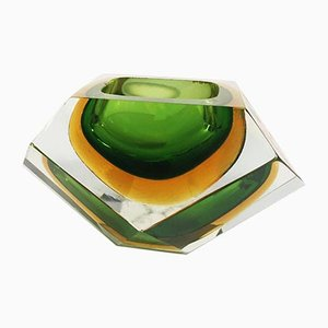 Vintage Italian Green and Golden Yellow Murano Glass Ashtray, 1970s