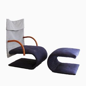 Vintage French Zen Chair and Ottoman Set by Claude Brisson for Ligne Roset, 1980s, Set of 2