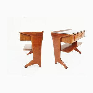 Italian Walnut and Black Glass Nightstands by Ico Parisi for Brugnoli Mobili Cantù, 1950s, Set of 2