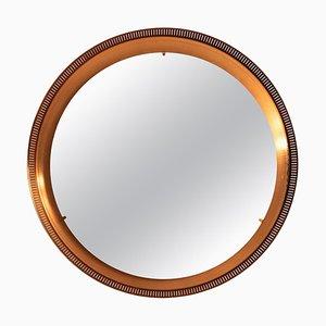 Danish Round Copper Mirror with Backlight, 1960s