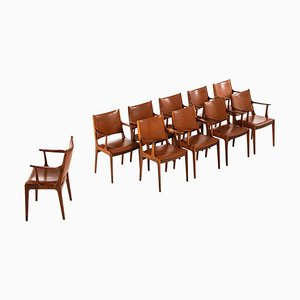 Fauteuils en Palissandre par Johannes Andersen pour Uldum Møbelfabrik, Danemark, 1960s, Set de 10
