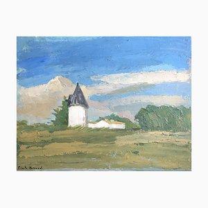 Französische Große Impressionistische Öllandschaft von Claude Benard, 1940er