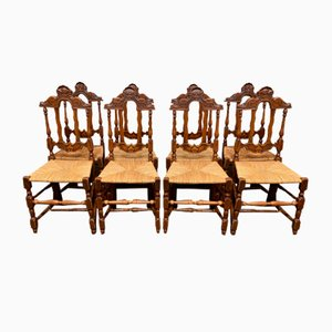 Antique French Farmhouse Dining Chairs, Set of 8