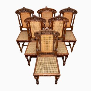 French Oak Dining Chairs, 1880s, Set of 6