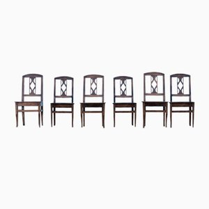 Antique French Farmhouse Dining Chairs, Set of 6