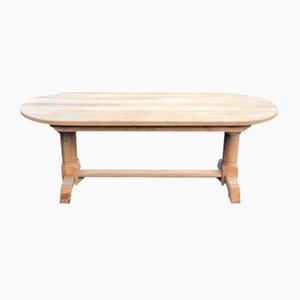 French Bleached Oak Farmhouse Dining Table, 1860s
