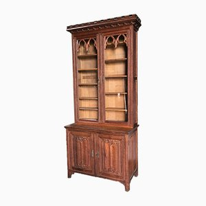 French Gothic Oak Bookcase, 1860s
