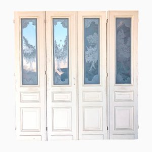 Antique French Chateau Etched Glass Doors, 1860s, Set of 4