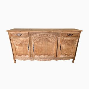 Antique French Bleached Oak Buffet Sideboard, 1860s