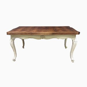 Antique Walnut French Parquetry Top Dining Table