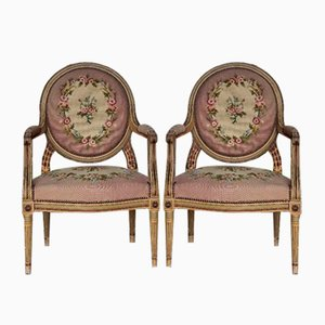 French Louis XVI Painted Chairs, 1880s, Set of 2