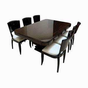 Art Deco Expandable Dining Room Set in Macassar Ebony, France, 1925