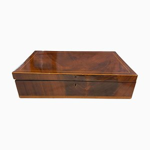 Biedermeier French Polished Casket Box in Mahogany, Austria, 1830s