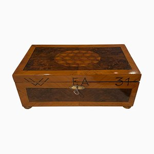 Jewellery Casket Box in Walnut, Walnut Roots, Ebony & Maple, Germany, 1880s