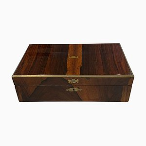 Regency Casket Box in Rosewood Veneer & Brass Fitting, England, 1830s