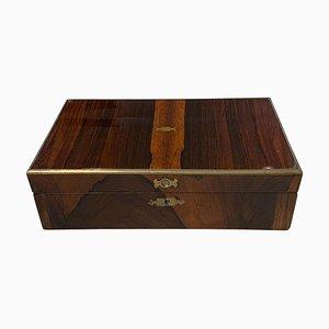 Regency Casket Box in Rosewood Veneer & Brass Fitting, England, 1830s