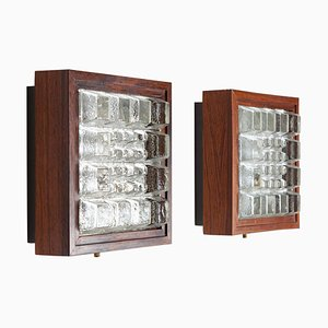 Rosewood Sconces in Rosewood and Glass from Falkenbergs Belysning, Sweden, 1970s, Set of 2