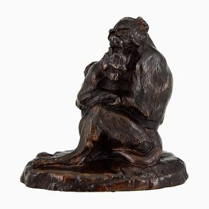 Antique Bronze Sculpture of Two Monkeys by Thomas François Cartier
